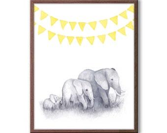 Elephant Watercolor Art, Elephant Nursery Art, Safari Theme, Baby Nursery Decor, Yellow and Gray Nursery, Gender Neutral Nursery Art - E3305
