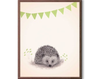 Hedgehog Nursery Decor, Woodland Nursery Art, Green and Gray, Gender Neutral Baby, Nursery Art, Hedgehog Print - H116