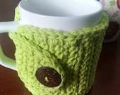 Coffee Mug Cozy in Hot Green Crochet Mug Cozy  Mug Sweater Coffee Cup Sleeve NandysNook