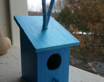 Handpainted Blue and Purple Birdhouse