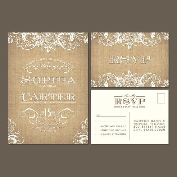 Digital burlap lace wedding invitation and rsvp postcard for Digital wedding invitations with rsvp