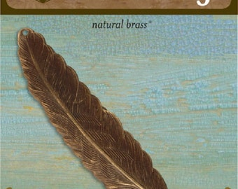 Vintaj Feather Large in Natural Brass, 88x18mm. Jewelry Making, Scrapbooking, P114