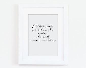 Nursery Print - Let Her Sleep Print- Quote Print - Typography Print - Baby Girl Print - Baby Girl Gift - New Baby Print - Black and Grey