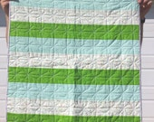 Simple Stripes Baby Quilt ~ Green & Blue