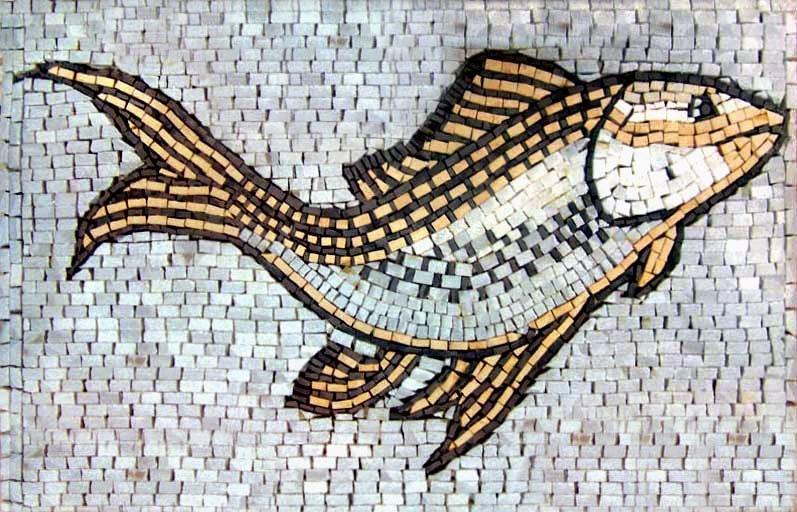 Fish Mosaic Marble Stone Design Artwork Handmade Decorative