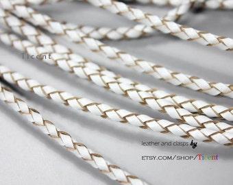 3mm Diameter Genuine Bolo Leather, White Leather Braided Bolo, Round Strand BP3M41
