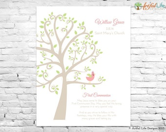 First Communion Tree Print, First Communion Gift for Girls, Personalized First Communion Art Print, Customized First Communion Wall Art
