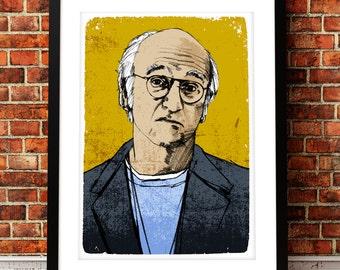 Larry David portrait print, Larry David print, TV art print, Curb You Enthusiasm, TV art, Larry David art, Larry David, Larry David poster