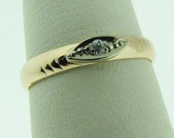 Vintage 14 K rose gold wedding band. Made in Russia.