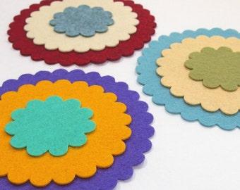 Scalloped Edge Circles - Wool Blend Felt - Die Cut Felt Shapes - Felt Applique - You Choose Colors