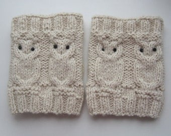 Owl Cable Ivory Knit Boot Socks - Hand Knitted Boot cuffs - Boot socks - Leg Warmers