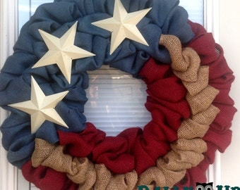 4th of July Burlap Wreath - American Wreath Natural,  Maroon, Blue Burlap Wreath, sparkle Wreath, Patriotic,  Flag Wreath , Independence Day