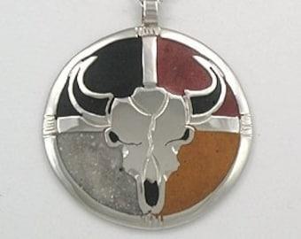 Buffalo Skull/Medicine Wheel Pendant