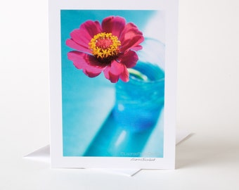 Photo Greeting Card, Blank Card, Photo Card, Zinnia, Pink, Turquoise, Birthday, Thank You, Get Well, Thinking of You