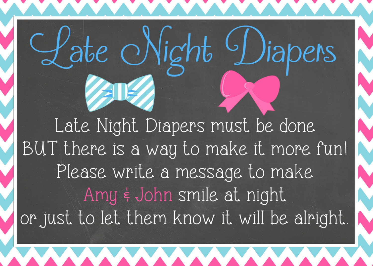 Bowties or Bows Late Night Diapers Baby Shower Sign/Blue or
