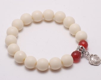 Rose silver charm stretch bracelet with white and red beads New