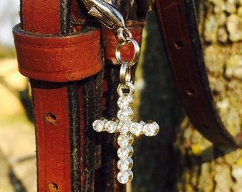 Rhinestone Cross Bridle Charm or Boot Zipper Pull. Crystal Cross Bridle Charm. Bridle Bling