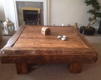 Handmade oak coffee table made from old reclaimed hardwood finished in medium oak