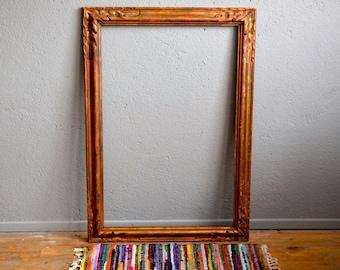 Cadre ancien patine style montparnasse cuivre bohème art déco antic frame midcentury french deco bohemian art deco patinated frame Lurette