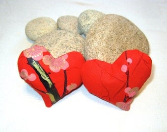 Set of Two Red Lavender Heart Sachets