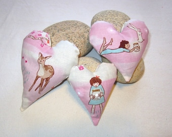 Set of Three Lavender Heart Sachets in Whimisical Cotton Print