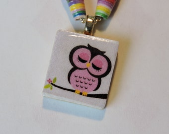 Owl Scrabble Tile Necklace with Handmade Paper  Bead