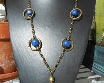 Blue and Old Gold Polymer Clay Necklace