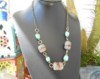Turquoise and Old Gold Polymer Clay Necklace