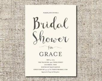 Calligraphy Bridal Shower Invitation Printable, Bridal Shower Invitation, Customized Bridal Shower Invitation, 5x7 Invite, BSI#4