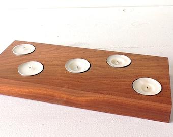 Handmade walnut 5 tealights holder, wooden candle holder,modern wooden candle holder,simple,rustic tealigt holder,scandinavian style