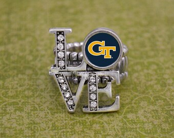 """Georgia Tech Yellow Jackets """"LOVE"""" Stretchy Ring"""