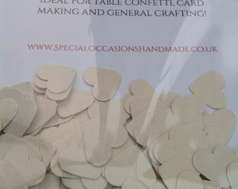 Hearts made from cream cardstock, 1.5cm wide. Ideal for table confetti, cardmaking and general crafting.
