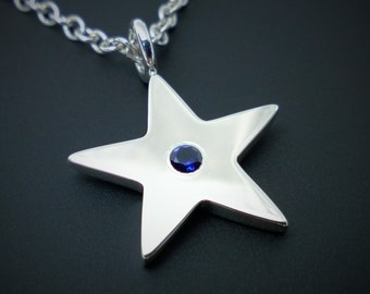 Blue Sapphire Star Necklace Pendant In Sterling Silver - Sterling Silver Star Necklace, Sterling Silver Star Pendant, Sapphire Star Necklace