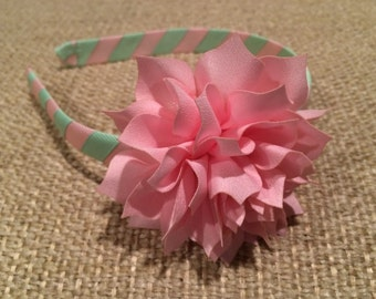 Light Pink and Light Green Grosgrain Ribbon Wrapped Headband with Pink Flower