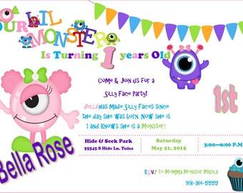 LITTLE MONSTER BIRTHDAY 1st party for girls-can make custom boys