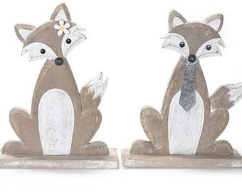 Antuqued Wood Foxes Set of 2 He and She