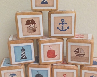 Set of 10 1.5 inch Nautical Wooden Blocks