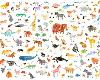 Animals, Print, A2