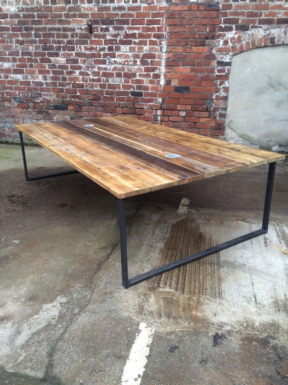 Reclaimed industrial chic 10 12 seater conference office for 12 seater wooden table