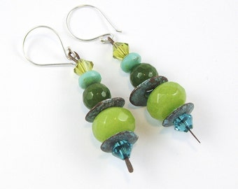 Apple Jade Earrings - Sterling Silver