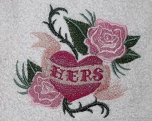 hearts embroidered bath towels wild at heart his hers heart roses thorns flames