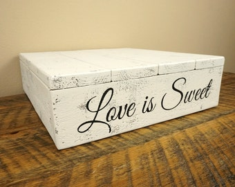 """Wedding Cake Stand - Shabby-Chic 12""""x12"""" or 14""""x14"""" Rustic Wood"""