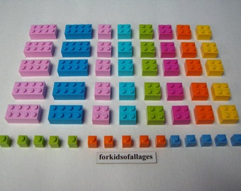 55 Bulk Lego Bricks Lot Friends / Girl / Easter Colors (Pink, Azure, Orange, Lime, Medium Blue+)