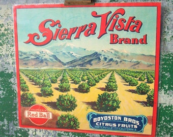 Vintage Authentic Food Label / Retro Artwork / Sierra Vista Brand,CA