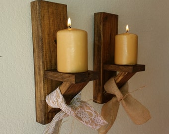 Rustic Wall Sconce Candle Holder (pair)