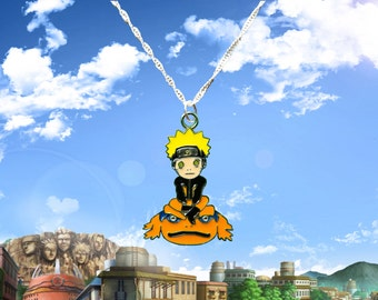 Naruto sterling silver necklace with Naruto and Gamakichi charm  Free UK Postage!