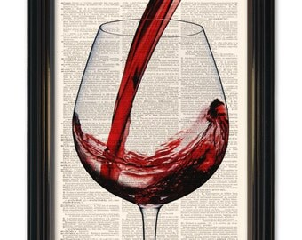 Wine dictionary art print. Kick off your heels & pour yourself a glass of wine-vintage book paper. Buy any of our 3 prints and Get 1 Free!