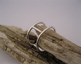 Love, Happiness and Health 3 Rung Ladder Ring Sterling Silver Handcrafted