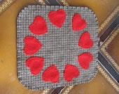 Primitive Hearts Penny Rug, FAAP, OFG, HaFair