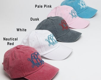 Monogrammed Baseball Cap for Ladies-Hat with Interlocking Script Monogram-Custom Embroidery, Personalized Baseball Hat, Baseball Cap